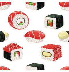 sushi seamless pattern japanese food bar or vector image