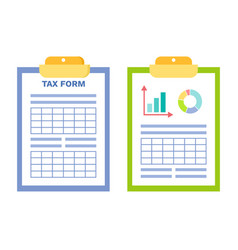 Tax form and infographics stats on clipboard set vector