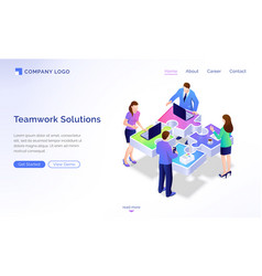 Teamwork solutions isometric landing page banner vector