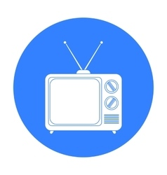 Television advertising icon in black style vector image