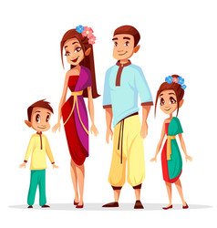 Thai family cartoon characters vector