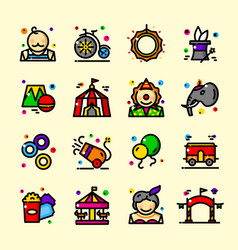 Thin line circus icons set vector