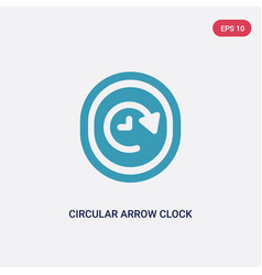 Two color circular arrow clock icon from user vector