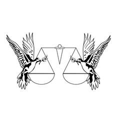 Two dove peace vector