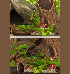 Two scenes of forest with logs and fern vector