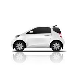 White realistic midget mini car vector