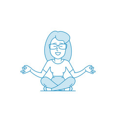 woman is meditating sitting on floor with legs vector image