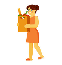 Woman with grocery shopping bag isolated on white vector