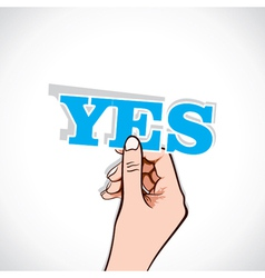 yes word sticker in hand vector image