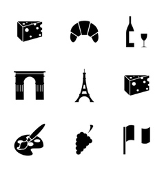 black paris icons set vector image