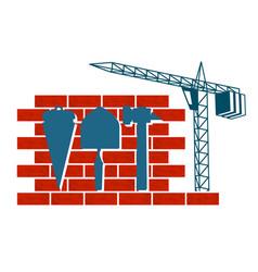 construction with a crane symbol vector image vector image