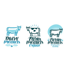 dairy products label set cow farm animal milk vector image