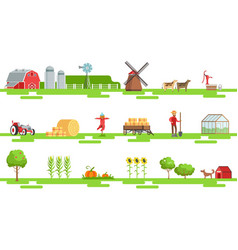 farm related elements in geometric style set of vector image