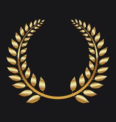 golden laurel wreath on black background vector image
