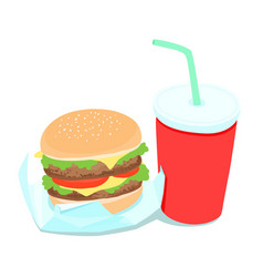 hamburger and soft drink vector image vector image