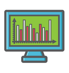 monitor chart colorful line icon business graph vector image vector image