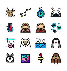 thin line arctic icons set vector image