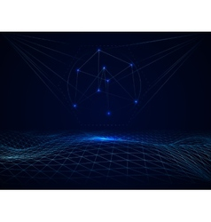 Abstract cyberspace grid waves vector image