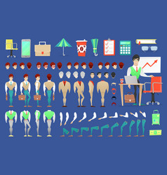 businessman character creation constructor vector image