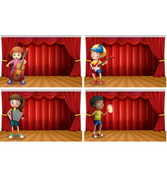 children playing different musical instrument vector image vector image