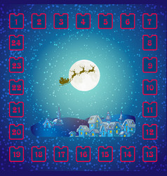 christmas advent calendar with santa claus and vector image
