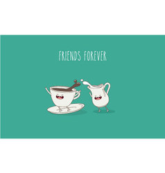 Coffee cup milk jar vector image vector image