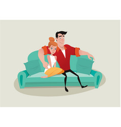 couple on the sofa vector image