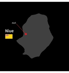 Detailed map of Niue and capital city Alofi with vector image vector image