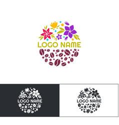 flowers coffee logo three vector image vector image
