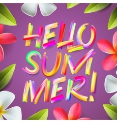 Hello summer holiday colorful template floral vector image vector image