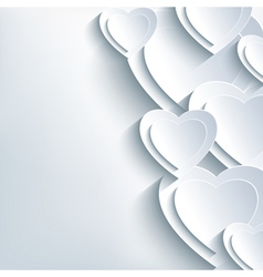 Modern background grey with paper 3d hearts vector image vector image