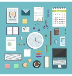 Office Supplies Collection Flat Style vector image