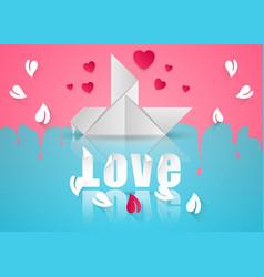 paper hearts valentines day dove icon vector image