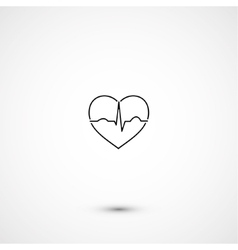 Simple minimalistic heart ecg vector image