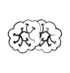 Sketch draw brain cartoon vector