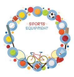 Sports Equipment Flat Icons Frame vector image