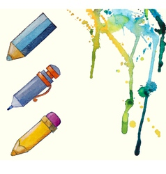 watercolor painted pencil icons splashes of paint vector image