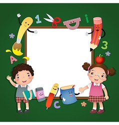 Back to school School kids with a sign board vector image vector image