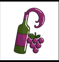 bottle splashing wine with bunch grapes icon vector image vector image