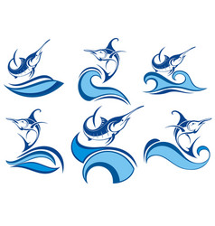 collection of fish icon with waves vector image vector image