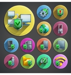 Data protection icons set vector image