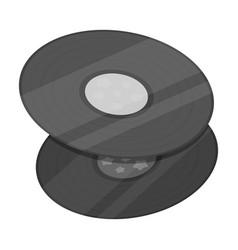 vinyl recordshippy single icon in monochrome vector image vector image
