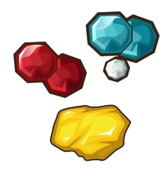 Yellow red and blue precious stone vector