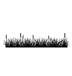 Grass and wheat silhouette vector