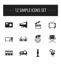 Set of 12 editable movie icons includes symbols vector