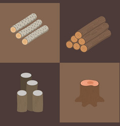 stacked wood pine timber for construction vector image vector image