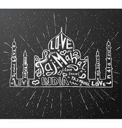 Taj Mahal Temple Landmark Silhouette vector image