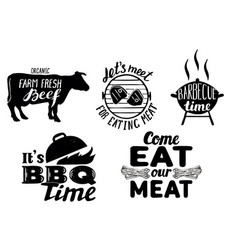 trendy meat quotes vintage hand drawn vector image