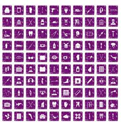 100 medical care icons set grunge purple vector