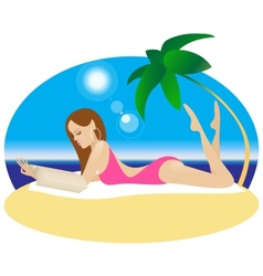 A Girl is Lying on a Beach and reading a book vector image